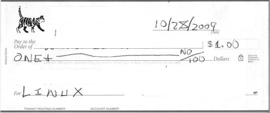 Front Side of Check