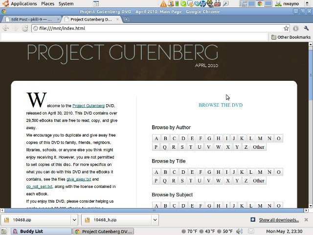 Project Gutenberg on Wayno's Machine