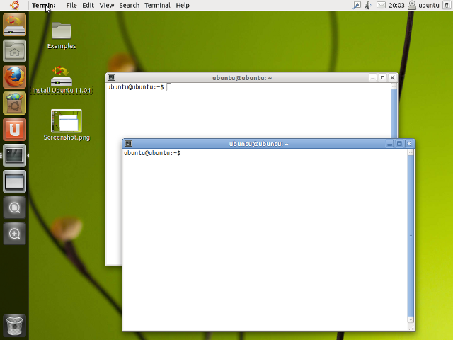 Screen image<br /> from Ubuntu 11.04 Unity